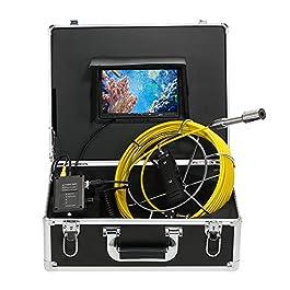 Lixada Caméra d'inspection d'égout de Tuyaux de Vidange de IP68 Système d'inspection Endoscope imperméable Caméra Serpent Moniteur LCD 7″ 12 LEDs Vision Nocturne
