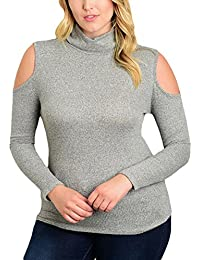 EOZY Femme Manches Longues Pull Moulant Tops Blouses Shirts Épaule Nu