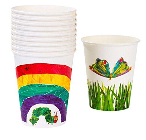 erdbeerloft - Party Dekoration- Raupe Nimmersatt Papier Becher, 250ml, 12 Stück, Mehrfarbig