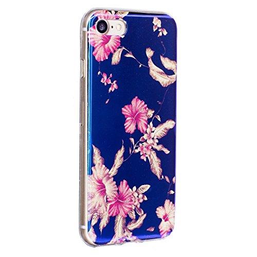 iPhone 7 Coque Transparent Tpu,iPhone 7 Étui en Silicone Mince avec Motif,JAWSEU [Double Face]Luxe Coloré Placage Cristal Clair Souple Gel Housse Etui de Protection,Bling Sparkle Case CLear Silicone T bleu/fleur2