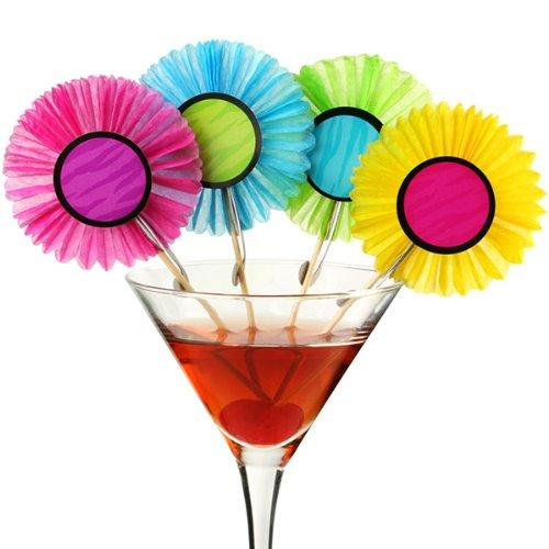 (Amscan Fächer-Dekopicker – 24 Stück, Pink, Grün, Gelb, Blau, Deko für Eis, Desserts u. mehr, 10cm)