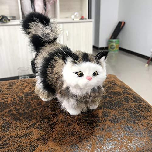 tion Katze Station Katze sendet Freund Geburtstag Geschenk Katze Simulation Katze Haus Dekoration Katze Modell Graue Blume ()
