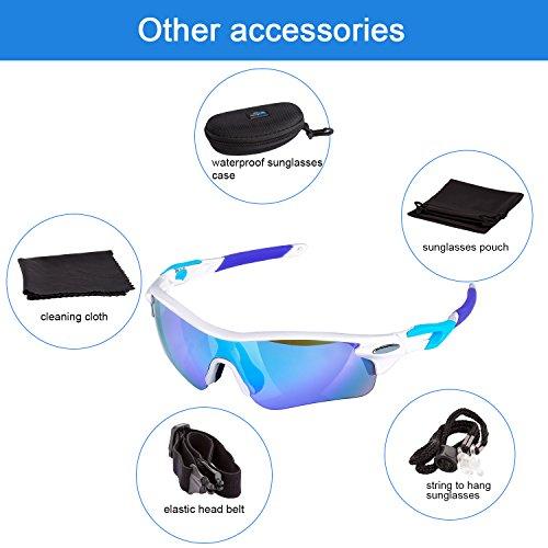 Navestar Radsportbrille Sport Sonnenbrille für Herren und Damen, Fahrradbrille mit 5 Austauschbare Lens UV400 Sportbrille für Radfahren, Fahren, Motorradfahren, Klettern, Angeln, Wandern Weiß-Blau - 3