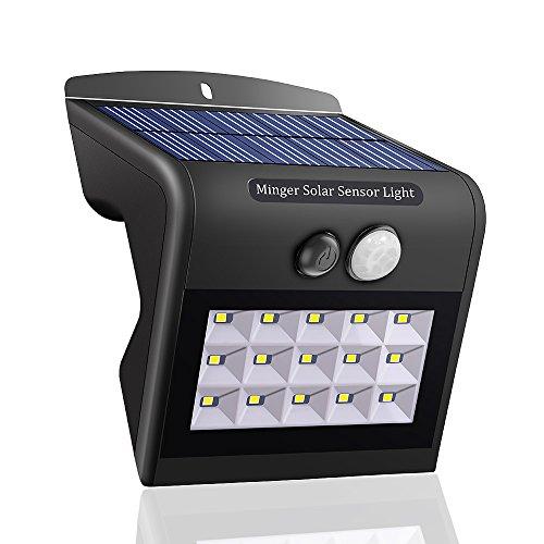 Minger Solar LED Wandleuchten 15 LED Weitwinkel IP65 Solarleuchte mit Bewegungsmelder Außen Solar Betriebene Außenleuchte, Wandleuchte, Energiesparende Wasserdichte 5 Modi Sicherheit Bewegungs-Sensor-Licht für Garten, Patio, Deck, Hof