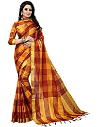 Gold Cotton Woven Saree With Blouse