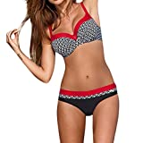 KEERADS BIKINI Damen Set Push up Swimsuits Strand Badeanzug Badebekleidung Bademode (XL, Rot)