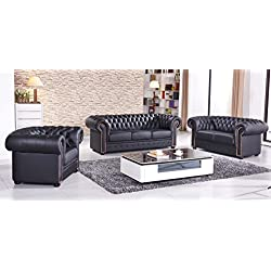 Chesterfield Ledersofa Ledercouch Chesterfield-3+2+1-S