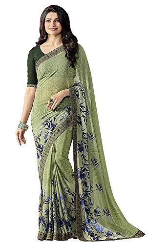 Manorath Women's Georgette Saree With Blouse Piece (Light-Green)