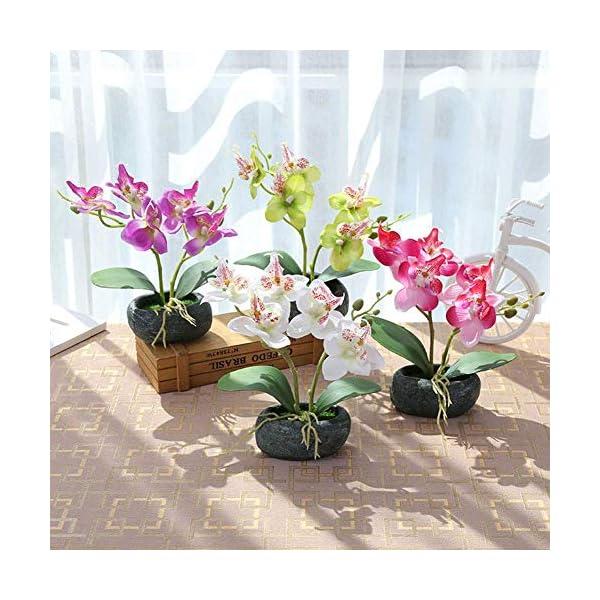 SparY Simulación Bonsái, Jardín con Macetero Escritorio para Oficina Paisaje Mariposa Orquídea Boda Falsos Flores…