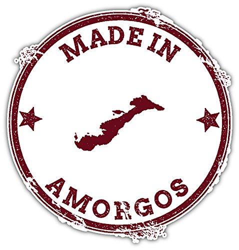 SkyBug Amorgos Seal Vintage Island Map Bumper Sticker Vinyl Art Decal for Car Truck Van Wall Window (24 X 24 cm)