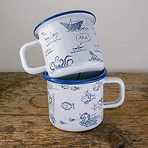 Emaille-Tassen Set - Metallbecher Fische und Papierschiffe - Lustige Outdoor, Camping-Becher in blau weiss - 100% Handmade