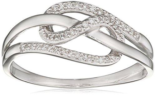 Elements gold donna 9 carati oro bianco rotonda bianco diamante
