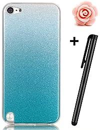 Toyym Schutzhüle für iPhone SE /5/5S,kratzfest, besonders schmal, Farbverlauf, glitzernd, flexible, Gel/TPU,inklusive Eingabestift und Staubstecker Blume, plastik Gel, Color#4, Apple iPod Touch 6/5