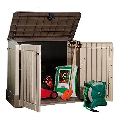 Keter 17197662 Aufbewahrungsbox Store it Out Midi, Holzoptik, Kunststoff, beige/braun, für 2x120 Liter Mülltonnen von Keter bei Du und dein Garten