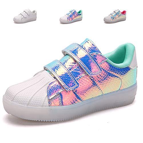 adituob Kinder Junge Mädchen LED leuchten Trainer Blinkende Schuhe USB Aufladen Turnschuhe Grün EU35