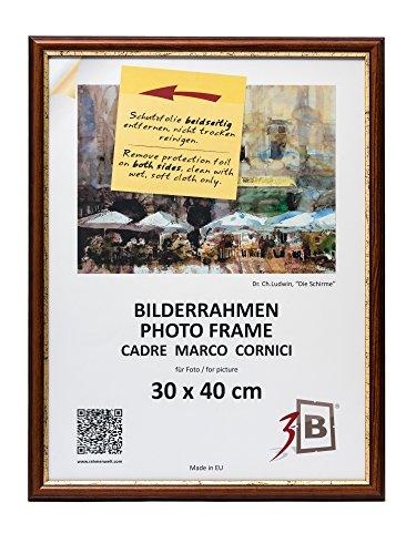 3-B Bilderrahmen BARI RUSTIKAL - dunkel braun – 30x40 cm - Holzrahmen, Fotorahmen, Portraitrahmen mit Plexiglas -