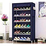HNESS Multipurpose Portable Folding Shoes Rack 6 Tiers Multi-Purpose Shoe Storage Organizer Cabinet Tower and Nonwoven Fabric Cover Color Blue