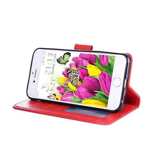 iPhone 6 / iPhone 6s Pelle Cover Case HuaForCity® Portafogli Custodia in Pelle Copertina con Slot per schede Magnetica Flip Chiusura Stile del Libro Supporto Funzione Bumper Caso for iPhone 6 / iPhone Eed