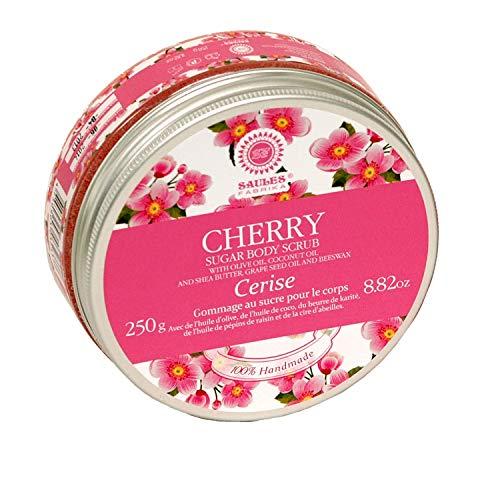 Zucker-Body-Scrub Körperpeeling für sanfte Reinigung, seidige weiche Haut für alle Hauttypen gegen Orangenhaut 300 g | 100% Naturkosmetik Duft: Kirsche -