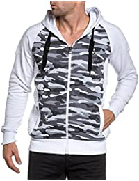 BLZ jeans - Sweat zippé homme blanc et imprimé camouflage