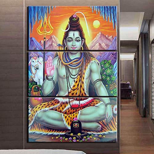 wangxiuliu Moderne Hinduismus Poster Print 3 Leinwand Gemälde Bilder Wandkunst Home Decor Wandkunst-Rahmenlos-35Cmx50Cmx3(13.77X19.68Zollx3)