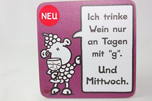 Sheepworld 45466 - Untersetzer Nr. D16, Ich Trinke Wein Nur an Tagen mit g. und Mittwoch., Kork, 9,5cm x 9,5cm