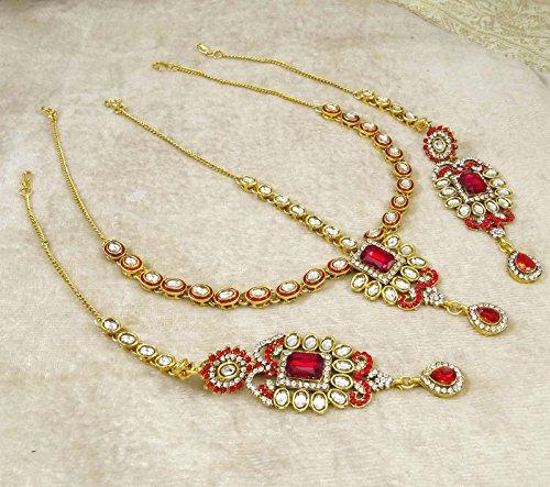Banithani Concepteur Ton Or Collier De Mariée Bollywood Ethnique Définir Des Ensembles De Bijoux De Mariage blanc rouge
