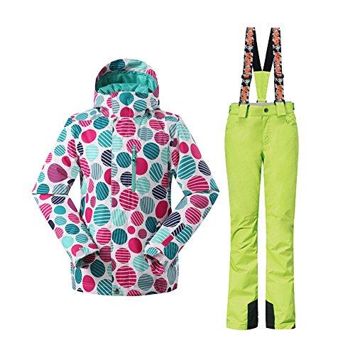 Wonny 2 Teilig Skianzug Wasserdicht Schneeanzug Jacke und Hosen Unisex Skiset Grün M
