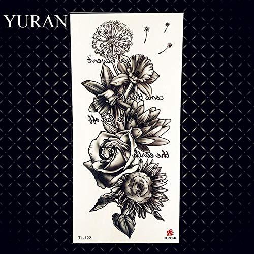 HXMAN 3pcs Schwarz Gitarre Musik Spectrum Gefälschte Temporäre Tattoos Aufkleber Körper Kunst Wasserdichtes Papier Tattoo Für Frauen Mädchen Blume Rose Tatoos GTL122