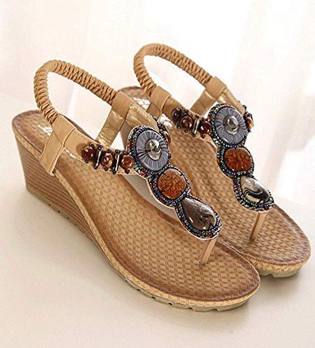 Amlaiworld Sommer Vintage Damen Sandalen Fashion Strand Perlen Sandalen Schuhe Khaki