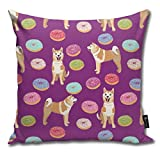Akita Donut - Dog, Donuts, Dog, Food, Akita Dogs - Purple Comfortable Soft Bed Pillow Case Household Pillow Case Office Bolster 18x18 Inches