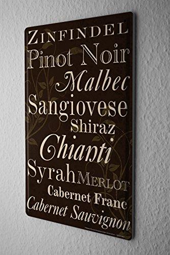 Cartel de chapa Placa metal tin sign Bar Party Decoración De La Pared Lista de vinos vino tinto Letrero De Metal 20X30 cm