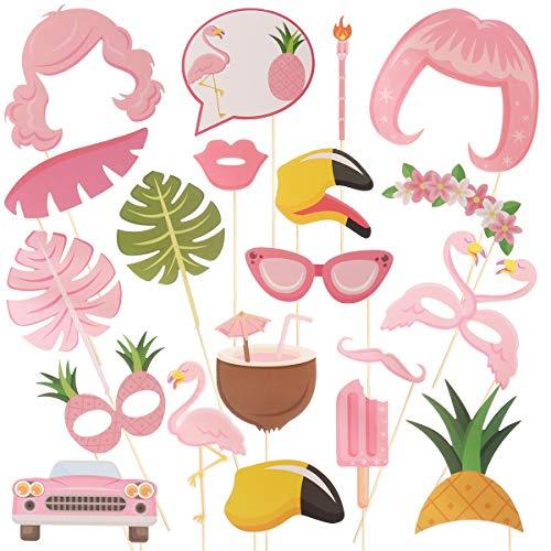 Amosfun Hawaii Foto Requisiten Set Flamingo Ananas Kokosnus Brille Deko für Tropical Geburtstag Party Luau Party Strand Hochzeit (Rosa)