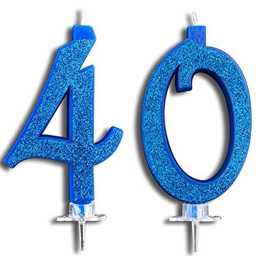 Party & Co. Geburtstagskerzen für 40 Jahre, ideal für Herren, für Damen und 12 cm, Blau mit Glitzern Eine Kerze Co