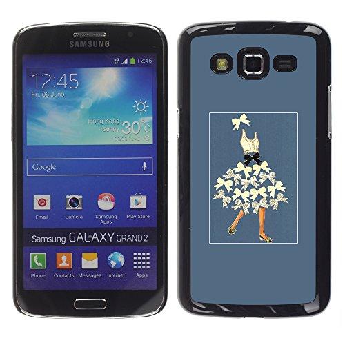 WonderWall Tapete Bunt Bild Handy Hart Schutz hülle Case Cover Schale Etui für Samsung Galaxy Grand 2 SM-G7102 SM-G7105 - Dame bowtie Kunst und Weise beugen blauen Korsett (Korsett-muster)