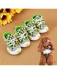 Easy Go Shopping 4 UNIDS Cinturón Tejido Zapatos cómodos para Perros Mascotas Zapatos para Perros pequeños, Longitud: 5.2cm, Ancho:…