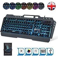 KLIM Lightning Semi Mechanical Gaming Keyboard - Wired USB - LED 7 Colors Light - Metal Frame - Ergonomic, Quiet - Black RGB PC PS4 Windows Mac Keyboards - Office Semi Mecanical Keys