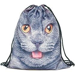 Pug perro para el hombro mochila escolar PUG LIFE de hombre mujer niños PE Bag Teenage mochila bolso cadena viaje gimnasio BRITISH CAT Uno Talla : Alta 40 cm/Longitud 33 cm