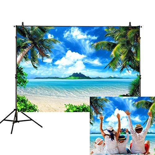 Funnytree Hintergrund für den Sommer, Ozean, Strand, für Fotografie, Tropische Kokosnuss, Palme, Blauer Himmel, Seesand, Hintergrund, Party, Banner für Fotostudio, Dekoration (Outdoor-wand-kunst-szene)