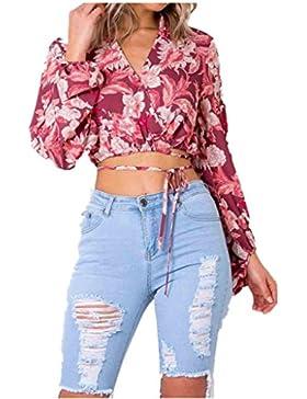 [Patrocinado]Camisa de manga larga de gasa de mujer,VENMO Mujeres sexy patrón de impresión vendaje manga larga cuello V camiseta...