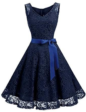 Dressystar DS0010 Robe femme soirée/demoiselle d'honneur/bal Col en V sans manches dentelle avec une ceinture Marine XS