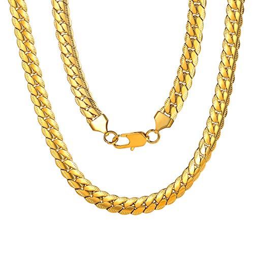 ChainsPro Herrenkette Männer Kette Halskette Poliert Gold Silber Silbergrau Weizenkette Herrschsüchtig Rau Punk Rock für Herren Männer (Kette Karat Gold 24)