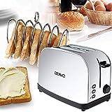 OZAVO Toaster mit Temperaturregelung, Edelstahl 2 Scheiben, Auftau-Modus, Toast-Zentrierung, Krümelschublade - 2