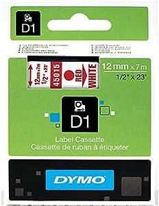 Dymo D1 Étiquettes Standard 12 mm x 7 m - Rouge sur Blanc