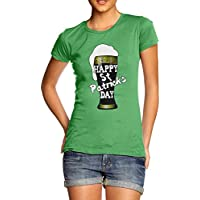TWISTED ENVY Happy St Patrick's Day Beer Women's Funny 100% Cotton T-Shirt, Crew Neck, Comfortable and Soft Classic Tee with Unique Design
