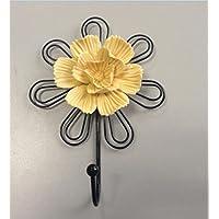 Flower decoration hook wrought iron coat hooks door creative hook wall mounted clothes rack , 8