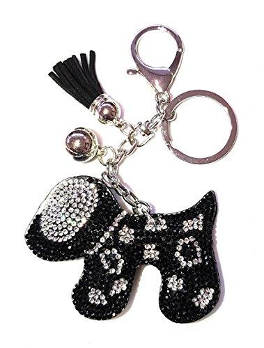 Womens Hund (Hund Hunde Strass Schlüsselanhänger Handtasche Anhänger Bommel Kugel (Schwarz / Weiß (4011)))