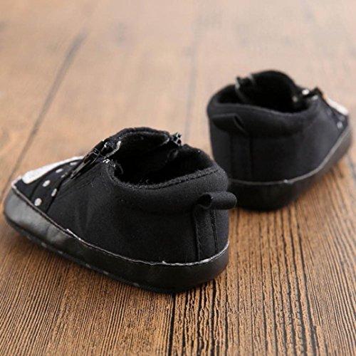 BZLine® Baby Krippe Schuhe Kleinkind Soft Sohle Reißverschluss Sneakers Schwarz