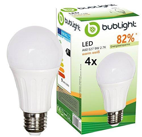 4x Bublight LED Lampe E27 9W, ersetzt 50W Glühbirne, Energieklasse A+, 2700 Kelvin warmweiß (E-A++)