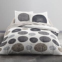 Today 012286Hello Dibujo Massai Juego de Cama 2Personas + 2Fundas de Almohada de algodón Beige/Gris/Topo 220x 240cm